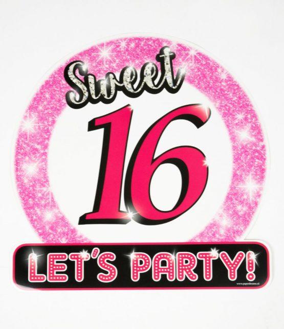 Huldeschild Sweet 16 roze